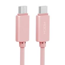 Kabel USB-C ROCK synchronizační a nabíjecí - růžový - 1m