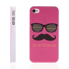 Plastový kryt pro Apple iPhone 4 / 4S - LE MOUSTACHE - knír - růžový