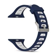 Řemínek pro Apple Watch 40mm Series 4 / 38mm 1 2 3 - silikonový - modrý / bílé otvory - (S/M)