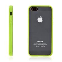 Ochranný plastový kryt pro Apple iPhone 5 / 5S / SE - průhledný se zeleným gumovým rámečkem