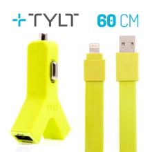 2v1 nabíjecí sada TYLT pro Apple zařízení - autonabíječka 2x USB (2.1A) + MFi certifikovaný kabel Lightning - zelená