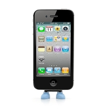 Antiprachová záslepka / stojánek 3D botky pro Apple iPhone / iPod touch mající 30-pin konektor - modrá