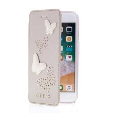 Pouzdro GUESS Studs and Sparkle Book pro Apple iPhone 6 / 6S / 7 / 8 - umělá kůže - zlaté - 3D motýli