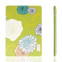 Pouzdro DEVIA pro Apple iPad Air 2 - stojánek a funkce chytrého uspání - květy - zelené / žluté