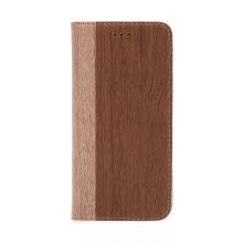 Pouzdro pro Apple iPhone 7 Plus / 8 Plus - stojánek + prostor pro platební karty - motiv dřeva / ořech