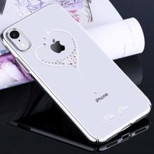 Kryt KINGXBAR pro Apple iPhone Xr - průhledný s kamínky Swarovski - srdce - stříbrný