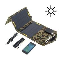 Outdoor skládací solární nabíječka pro Apple a další zařízení (2A/10,5W) rychlonabíjecí - maskáč