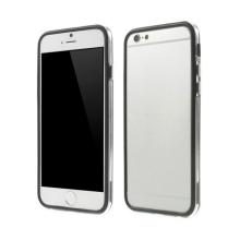 Plasto-gumový rámeček / bumper pro Apple iPhone 6 / 6S - černý s průhledným pruhem
