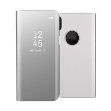 Pouzdro pro Apple iPhone X - plast / umělá kůže - průhledná přední strana - stojánek - stříbrné