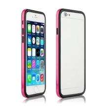 Ochranný plasto-gumový rámeček / bumper pro Apple iPhone 6 - růžovo-černý