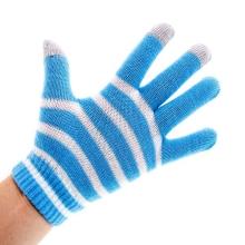Rukavice pro ovládání dotykových zařízení - pruhované modro-bílé
