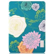 Pouzdro DEVIA pro Apple iPad Air 2 - stojánek a funkce chytrého uspání - květy - zelené / modré