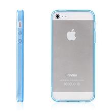 Ochranný plasto-gumový kryt s antiprachovou záslepkou pro Apple iPhone 5 / 5S / SE - průhledný s modrým rámečkem