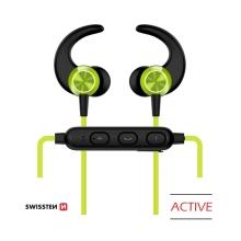 Sluchátka SWISSTEN Active - bezdrátová - Bluetooth 4.2 - mikrofon + ovládání - limetková
