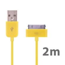 Synchronizační a nabíjecí USB kabel pro Apple iPhone / iPad / iPod – 2mžlutý