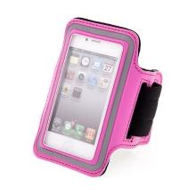 Sportovní pouzdro pro Apple iPhone 4 / 4S - růžové s reflexním pruhem