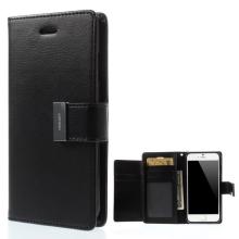 Vyklápěcí pouzdro - peněženka Mercury pro Apple iPhone 6 / 6S - s prostorem pro umístění platebních karet - černé