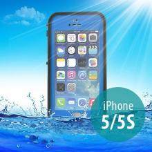 Voděodolné plastové pouzdro Redpepper pro Apple iPhone 5 / 5S / SE s podporou funkce Touch ID - modré s černým rámečkem