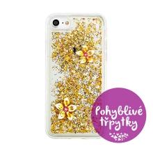 Kryt pro Apple iPhone 7 / 8 - pohyblivé třpytky - gumový - zlaté květiny