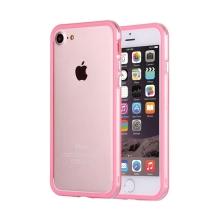 Rámeček / bumper pro Apple iPhone 7 / 8 - guma / plast - průhledný / růžový
