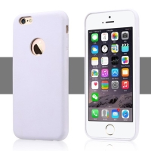 Ochranný plastový kryt USAMS pro Apple iPhone 6 / 6S s výřezem na logo - povrchová úprava - umělá kůže - bílý