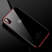 Kryt CAFELE pro Apple iPhone X - gumový / pokovené hrany - průhledný / červený