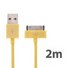Synchronizační a nabíjecí kabel s 30pin konektorem pro Apple iPhone / iPad / iPod - silný - žlutý - 2m