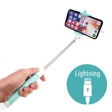 Selfie tyč / monopod - kabelová spoušť - konektor Lightning - tyrkysová