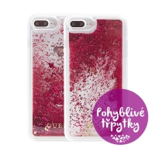 Kryt GUESS Raspberry pro Apple iPhone 6 Plus / 6S Plus / 7 Plus / 8 Plus - plastový - glitter / růžové třpytky