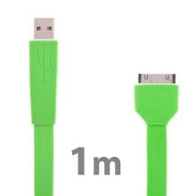 Plochý synchronizační a nabíjecí USB kabel pro Apple iPhone / iPad / iPod - zelený
