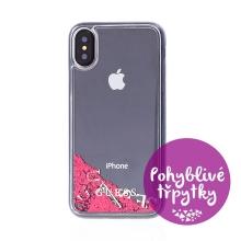 Kryt GUESS Liquid Glitter pro Apple iPhone X / Xs  - plastový - růžové třpytky