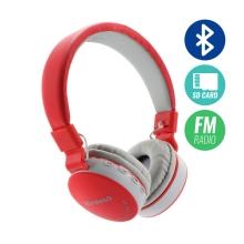 Sluchátka Bluetooth bezdrátová - mikrofon + ovládání - FM rádio - Micro SD slot - 3,5mm jack vstup - červená / šedá