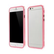 Plasto-gumový rámeček / bumper pro Apple iPhone 6 / 6S - světle růžový s průhledným pruhem