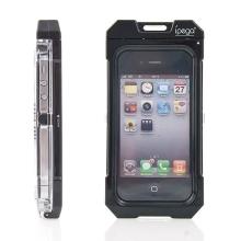 Voděodolné plasto-silikonové pouzdro iPega pro Apple iPhone 4 / 4S - černo-průhledné