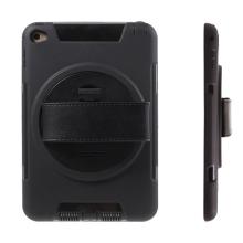Pouzdro pro Apple iPad mini 4 plasto-gumové odolné - 360° otočný stojánek a držák / pásek na ruku - černé