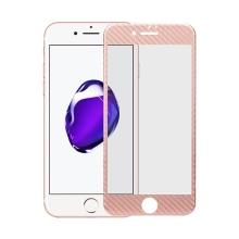 Tvrzené sklo pro Apple iPhone 7 - Rose Gold rámeček - karbonová textura - 0,3mm