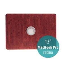 Obal / kryt pro Apple MacBook Pro 13 Retina (model A1425, A1502) - plastový tenký / potah umělá kůže - červený / hnědý
