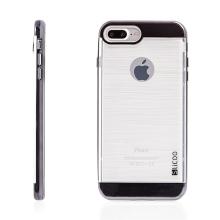 Kryt SLiCOO pro Apple iPhone 7 Plus / 8 Plus gumový / černý plastový rámeček - broušený vzor - průhledný