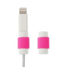 Plastová ochrana / rozlišovač na standardní tloušťku nabíjecích / synchronizačních kabelů - bílo-růžová