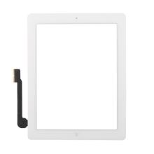 Přední dotykové sklo (touch screen) pro Apple iPad 3.gen. - osazený díl - Home Button + konzole na foto - bílé - kvalita A+