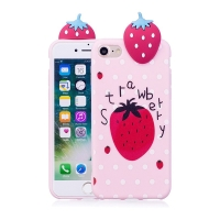 Kryt pro Apple iPhone 7 / 8 - 3D jahoda - gumový -růžový / jahoda a puntíky