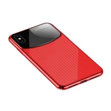 Kryt USAMS pro Apple iPhone Xs Max - sklo / plast - červený