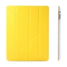 Ochranné pouzdro s variabilním stojánkem a funkcí chytrého uspání a probuzení pro Apple iPad 2. / 3. / 4.gen. - žluto-průhledné