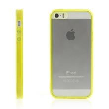 Ochranný plasto-gumový kryt s antiprachovou záslepkou pro Apple iPhone 5 / 5S / SE - průhledný se žlutým rámečkem