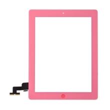 Přední dotykové sklo (touch screen) pro Apple iPad 2.gen. - osazený díl - Home Button + středový rámeček - růžové
