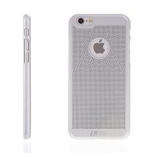 Plastový kryt LOOPEE pro Apple iPhone 6 / 6S s výřezem pro logo - děrovaný - stříbrný