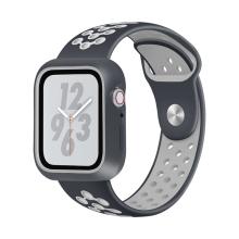 Řemínek pro Apple Watch 44mm Series 4 / 42mm 1 2 3 + ochranný rámeček - silikonový - černý / šedý