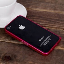 Ochranný ultra tenký hliníkový rámeček / bumper LOVE MEI (tl. 0,7 mm) pro Apple iPhone 4 / 4S - tmavě růžový