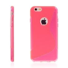 Kryt pro Apple iPhone 6 / 6S gumový výřez pro logo růžový