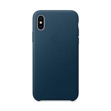 Originální kryt pro Apple iPhone X - kožený - vesmírně modrý